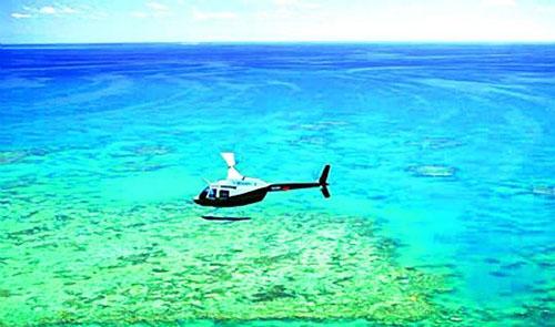 澳大利亚大堡礁 乘坐直升飞机俯瞰大海